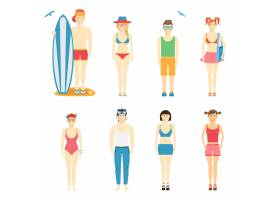 五颜六色的男孩和女孩角色矢量集穿着夏装_10700988