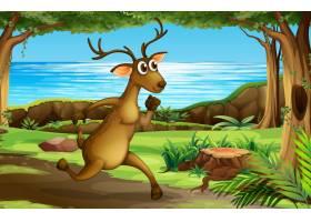 一只在森林里奔跑的鹿_4292117