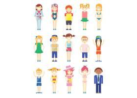 五颜六色风格各异的笑脸男女生图形_10705001