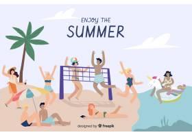 享受夏天的人们_4521818