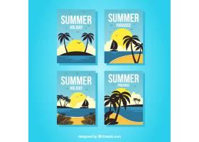 一套可观赏海滩景观的夏日卡片_2346275