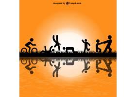 人们在公园vVector中锻炼的剪影_724521