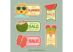 一套带有海滩元素的夏季促销标签_2248076