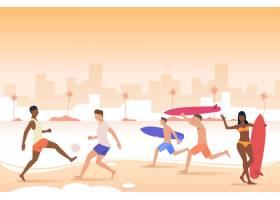 人们在城市海滩上玩球手持冲浪板_4950264