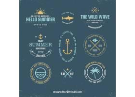 一套手绘风格的带有海滩元素的夏季徽章_2153855