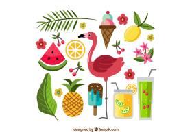 一套手绘风格的食物和植物的夏季元素_2170725