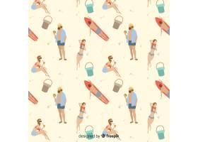 人们在海滩上看着花样_4595557