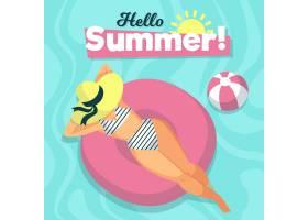你好夏日和女人在游泳池边_7942633