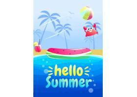 你好夏日聚会横幅设计水族馆的游泳池_4015716