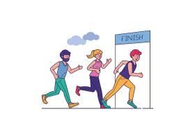 一群跑马拉松的运动员矢量插图_7416558