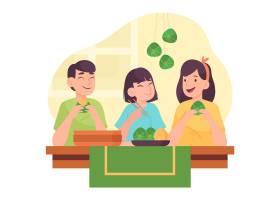 一家人在做粽子_8422722