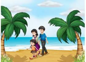 一家人在海滩散步_4294811