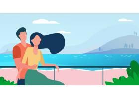 一对正在海边度假的约会情侣沙滩上的男女_10606367