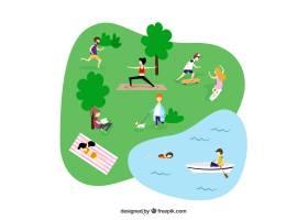 以平面设计进行户外休闲活动的人们_2607823