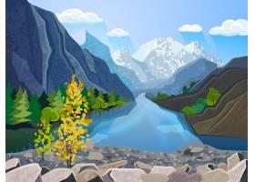 优质山水壁纸夏日山脉有河有金树_3817341