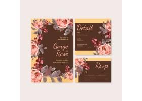 一种爱情绽放概念设计水彩插图婚卡模板_12928536