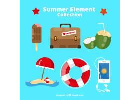 一组夏季元素食物和衣服都是平坦的_2165059