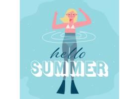 你好夏天有女人在游泳_7798899