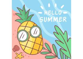 你好海滩上有菠萝的夏天_7967981