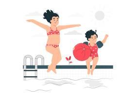 儿童在游泳池里玩耍的概念插图_8115374