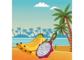 充满异国情调的热带水果图标卡通_4794096