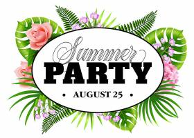 八月二十五号的夏日晚会热带树叶和花朵的传_2541738
