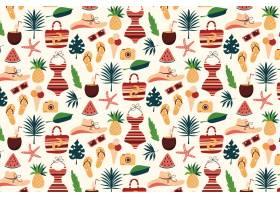 夏季模式配有海滩必需品和菠萝_9387626