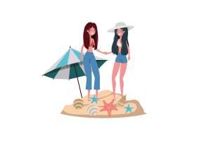 在海滩上穿着泳衣打着伞的女人_4740990