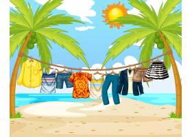 在海滩的场景中许多衣服挂在绳子上_11693298