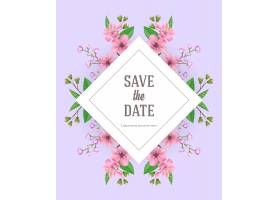 使用粉色和紫色花朵保存日期模板手写文字_2749340