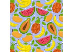 充满异国情调的夏日水果无缝图案_9007385
