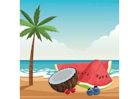 充满异国情调的热带水果图标卡通_4792792