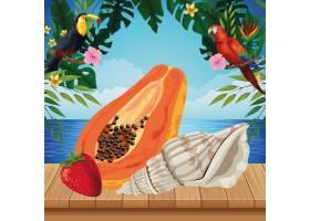 充满异国情调的热带水果图标卡通_4792855