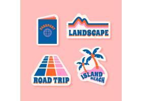 70年代风格的旅游度假贴纸_6234604