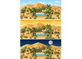 一天中不同时段的沙漠自然景观_11829791