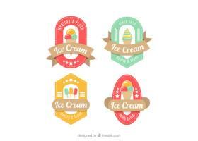 一套四个扁平设计的冰激凌贴纸_1145381