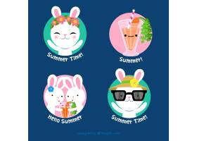 一套带有可爱兔子的夏季标签_2310680