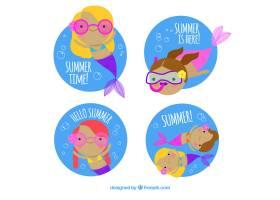 一套带有彩色美人鱼的夏季标签_2310678
