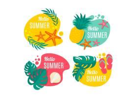 一套平坦的夏季标签_8135369