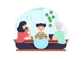 一家人吃粽子_8422719