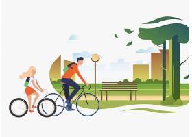 爸爸和女儿骑自行车城市公园有树和长凳_4530248