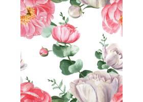 牡丹花水彩画图案无缝花卉植物水彩画风格复_4458365