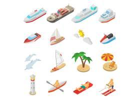 轮船和海滩度假图标集_3817313