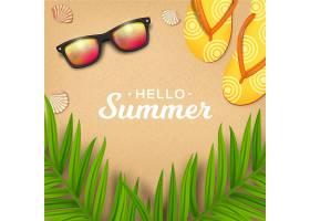 逼真的你好夏日太阳镜和拖鞋_7708649