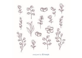 逼真的手绘花朵有茎有叶有阴影_5445505