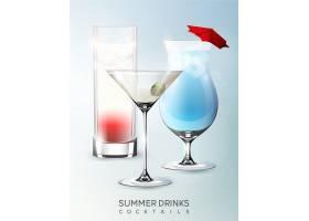 现实主义风格隔离不同种类鸡尾酒的酒类夏日_10347039