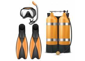 逼真的潜水装备套装带通气管的浮潜面罩_3685321