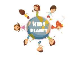 用儿童星球符号玩儿童卡通概念矢量插图_3998265