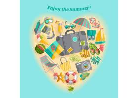 畅享暑假旅游偶像心形构图海报_4005511