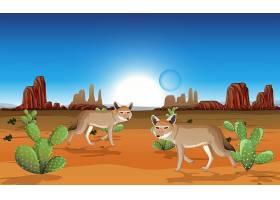 白天场景中有岩石山脉和郊狼景观的沙漠_11829776